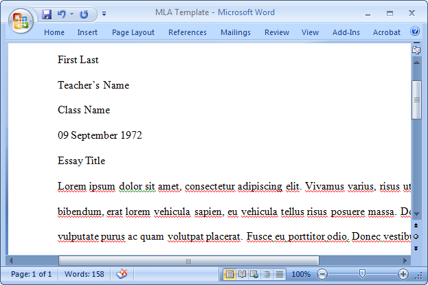 mla format on word