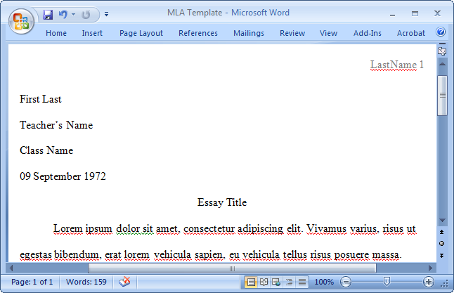mla format mac word